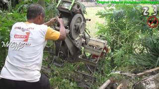 Two Wheel Hand Tractor Walking Down On Extreme Steep Slope