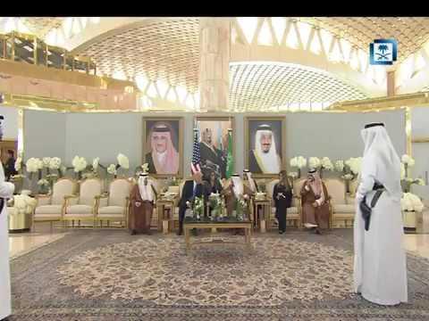 """بالفيديو.. الرئيس الأمريكي لـ""""الملك"""": سعيد بقدومي للسعودية"""