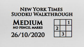 New York Times Medium Sudoku No Pencil Markings - 25/10/2020