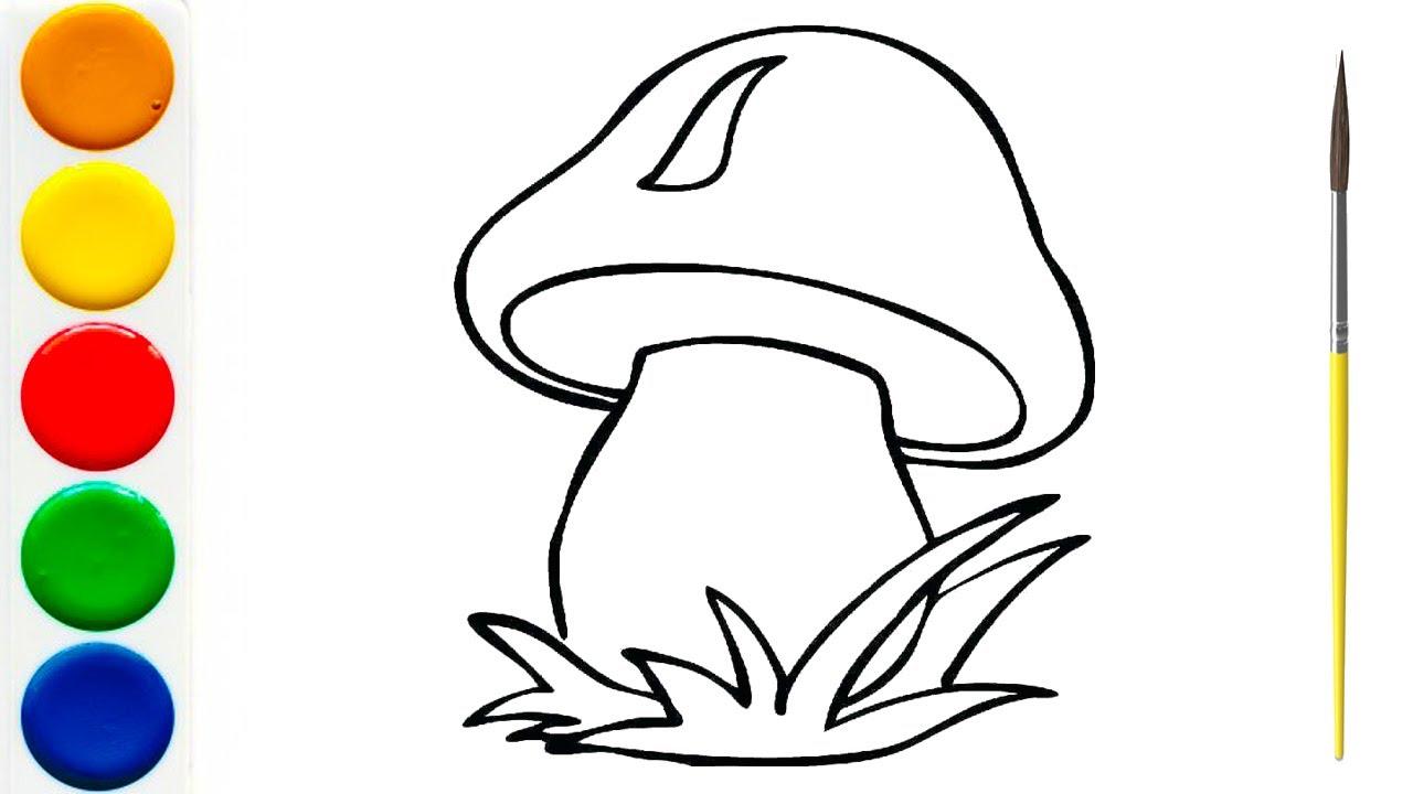 Рисование и Раскраска ГРИБОЧЕК для детей - YouTube
