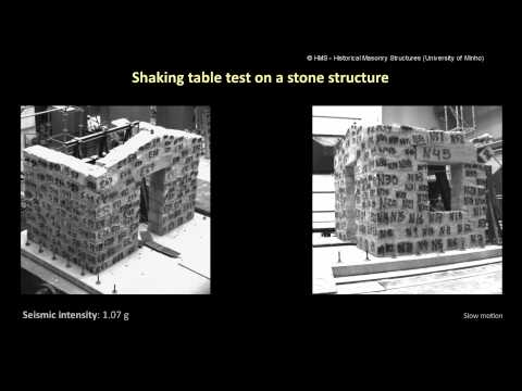 Shaking table test on a stone structure