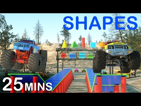 Learn 2D and 3D Shapes And Race Monster Trucks  TOYS FULL CARTOON  s For Children