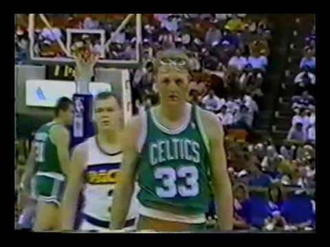 Larry Bird (with goggles) 34pts vs Indiana Pacers 1988 rookie Reggie Miller