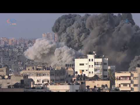 Israeli warplanes bombed and destroyed Almeshal cultural center in Gaza