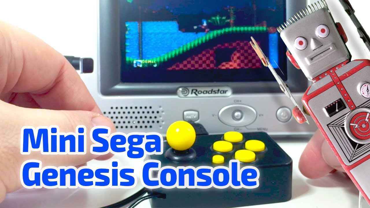 2014 mini sega genesis console working miniature with 10 games by