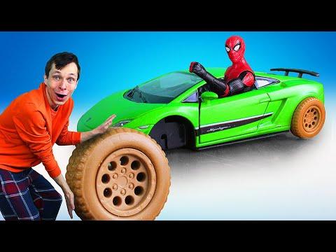 Человек Паук в новом видео - Прокачиваем тачку Спайдермена! – Игры для мальчиков с Супергероями
