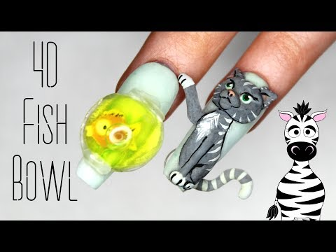 3D Fish Bowl Aquarium Acrylic and Gel Nail Art Tutorial thumbnail