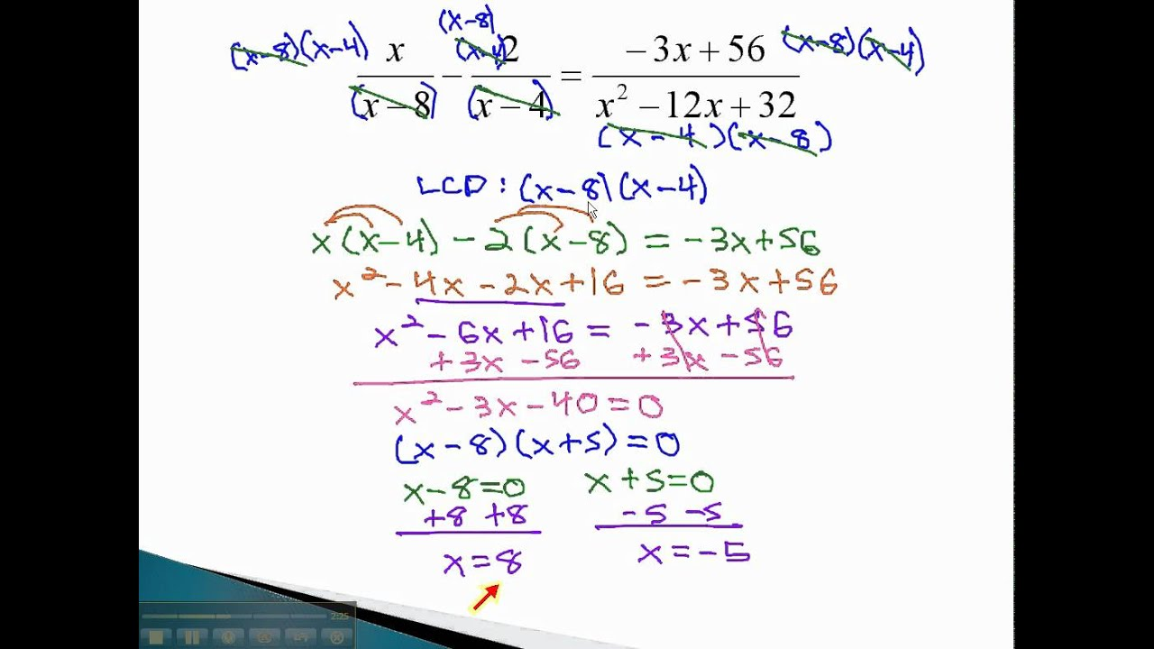 Solve Rational Equations With Extraneous Solutions