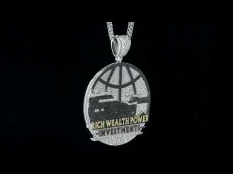 Two-Tone Iced Out White Gold Finish Rich Wealth Power Investments Custom Pendant
