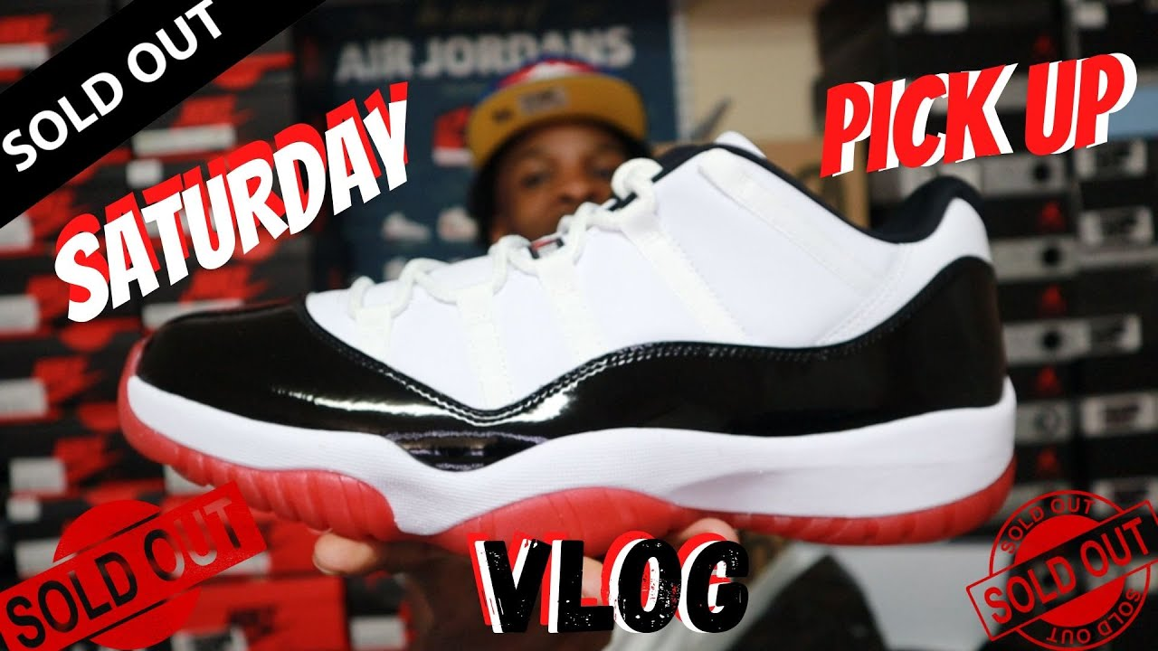 """THESE SOLD OUT FAST!!! JORDAN 11 """"CONCORD BRED"""" SATURDAY PICK UP VLOG!!"""