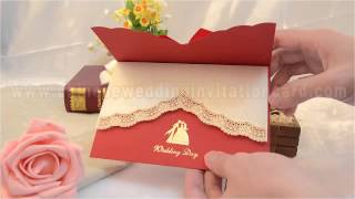 New design chinese style red wedding invitation card