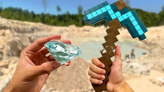 I mined a real diamond using ONLY a toy minecraft pickaxe...