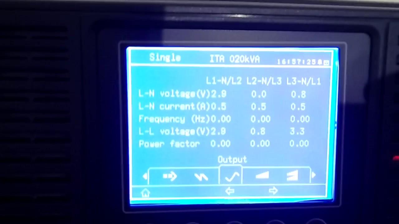 Emerson ITA Adapt 20Kva Ups Display Parameters