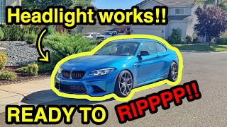 Finally Getting My CHEAP SALVAGE BMW M2 Assembled and Headlight Programmed through TEAMVIEWER!