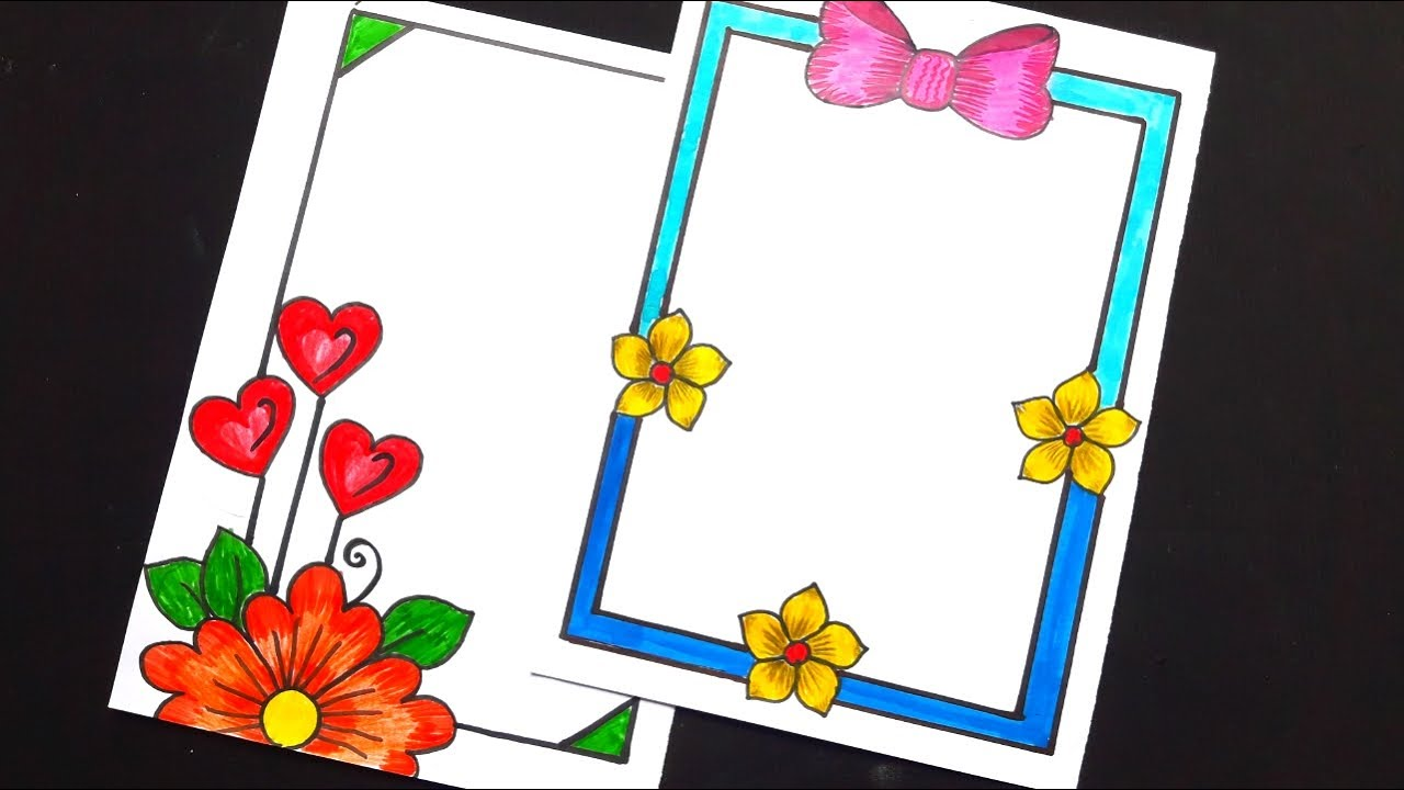 Paper Border Designs For Projects Easy Designs For Beginners Pencil Drawing Flowers Flowers Youtube