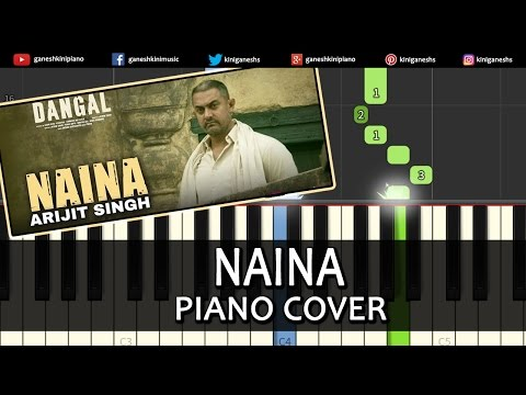 Naina Dangal|Arijit Singh|Hindi Song|Piano Chord Tutorial Lesson Instrumental Karaoke By Ganesh Kini