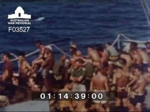 [Voyages of HMAS Manoora circa 1945]
