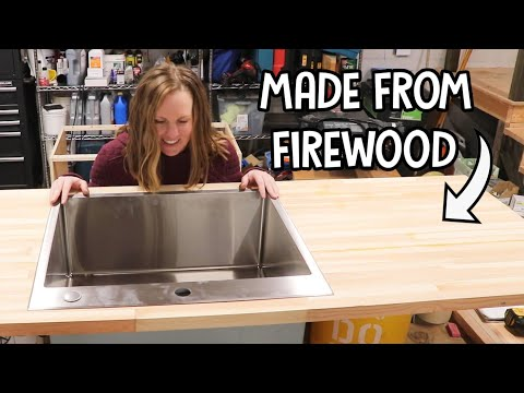 firewood-➡️➡️-butcher-block:-sink-install-&-epoxy-coating