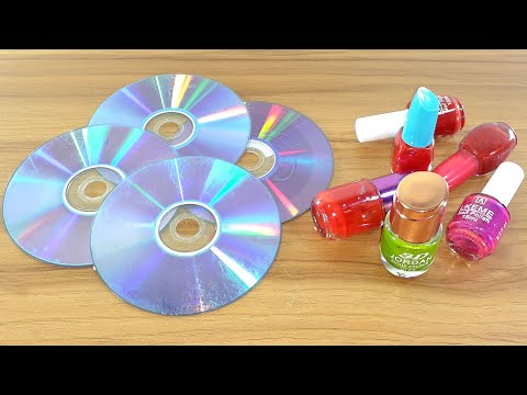 RECYCLING CD DISC CRAFTING WITH NAIL POLISH | WASTE CD DISC REUSE IDEA | BEST OUT OF WASTE