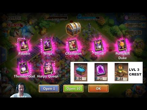50 Fireworks 50 Egg Smashes 96 Soulstone Trunks 22 Hero Cards Castle Clash