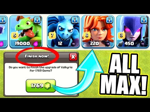 THE END IS HERE! - OFFICIALLY ALL MAX TROOPS! - Clash Of Clans - GEM TO MAX LEVEL!