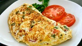 Как приготовить пышный омлет с сыром и помидорами. Быстро вкусно и питательно