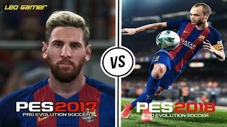 FACES PES 2017 VS PES 2018 - MESSI, NEYMAR, SUAREZ (XONE,PS4,PC)