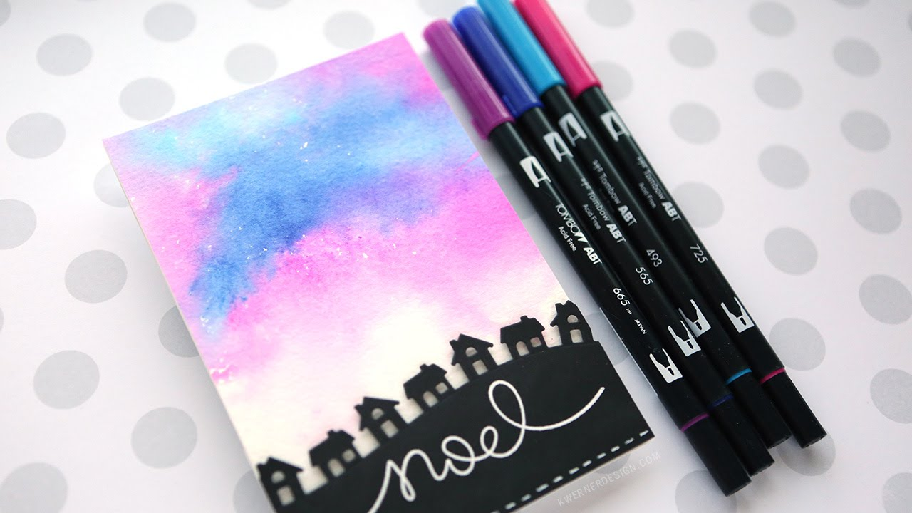Soft Watercolor Background with Tombow Markers - YouTube