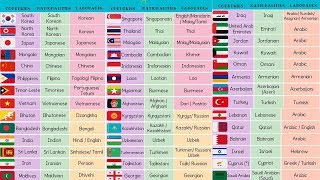 List of Asian Countries with Asian Languages, Asian Flags and Nationalities
