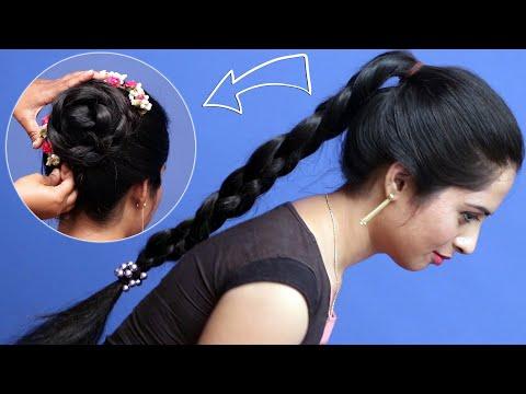 easy juda hairstyle for long hair | wedding guest hairstyle | party hairstyle | bun hairstyles thumbnail