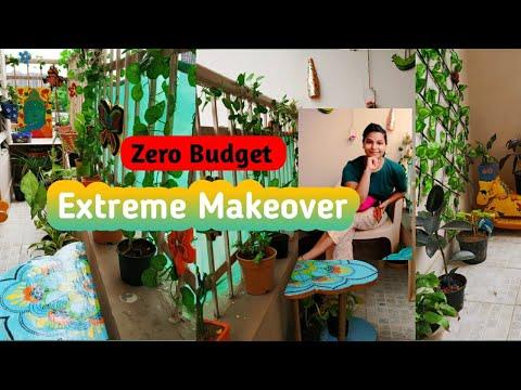 Extreme Balcony Makeover(Zero Budget) || My Small Indian Balcony Tour ||DIY Decor Ideas