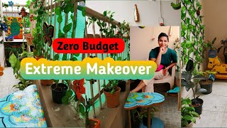 Extreme Balcony Makeover(Zero Budget) || My Small Indian Balcony Tour ||DIY Decor Ideas