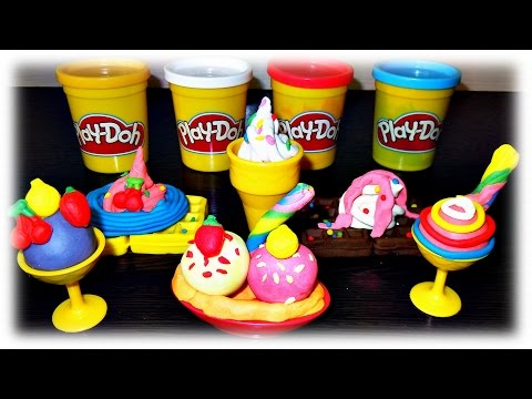 CLAY FOR KIDS VIDEO: We Make from Play Doh Ice Cream & Waffles, Review PLAYGO Set