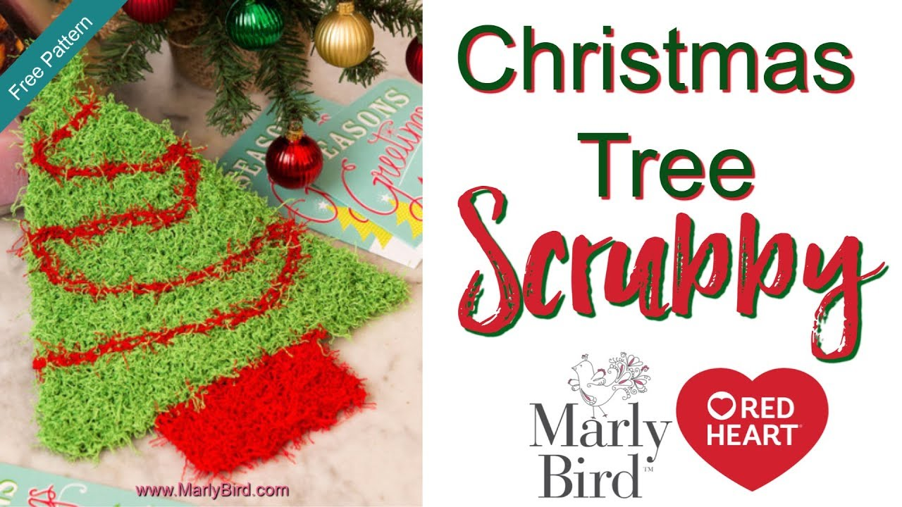 Learn How to Knit the Christmas Tree Scrubby in Red Heart Scrubby ...