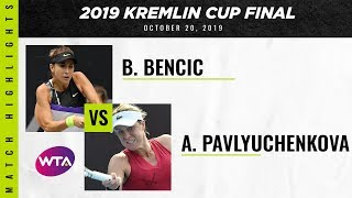 Belinda Bencic vs. Anastasia Pavlyuchenkova  | 2019 Kremlin Cup Final | WTA Highlights