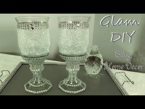 Dollar Tree DIY Glam Frosted Pedestal Candle Holders