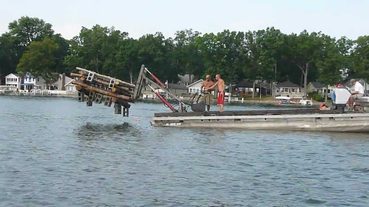 Fish crib installation in webster lake indiana 1 youtube for Fishing in indiana