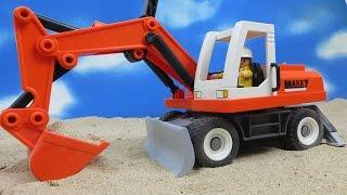 PLAYMOBIL Film deutsch Bagger Schaufelbagger mit Räumschild 6860 Baustelle ausgepackt angespielt