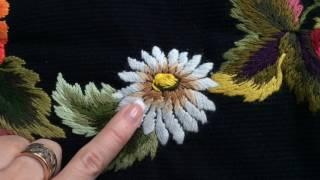 Вышивка гладью: Ромашка | Embroidery