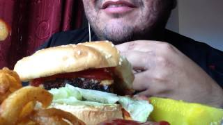 Asmr #52 All American Cheese Burger, Curly Fries And A Coke!