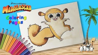 Coloring Mort from Madagascar. Madagascar coloring book for kids. Best Сoloring Page.
