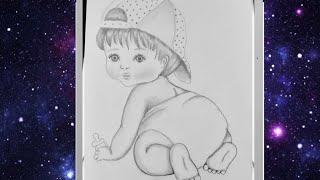 تعليم الرسم بالرصاص رسم طفل صغير بأبسط الأدوات How To Draw A Baby For Beginners Pencil Sketch Youtube