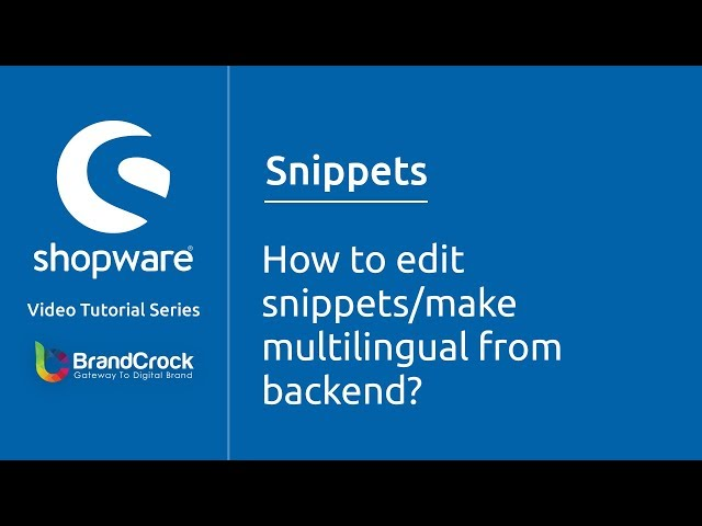 Shopware tutorials : How to edit snippets/ make multilingual from backend?