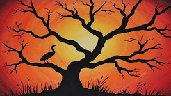 Acrylic Painting Sunset Silhouette Youtube