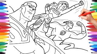 Superheroes Coloring Pages for Kids. How to Draw batman, Superman, Flash and Wonder Woman