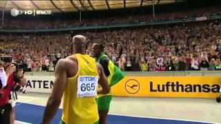 Усейн Болт. Мировой рекорд 100 метров, 9.58 секунды. 2009 (задом наперед)