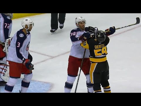 Jenner cross checks Guentzel's throat, Crosby tries to fight Jones