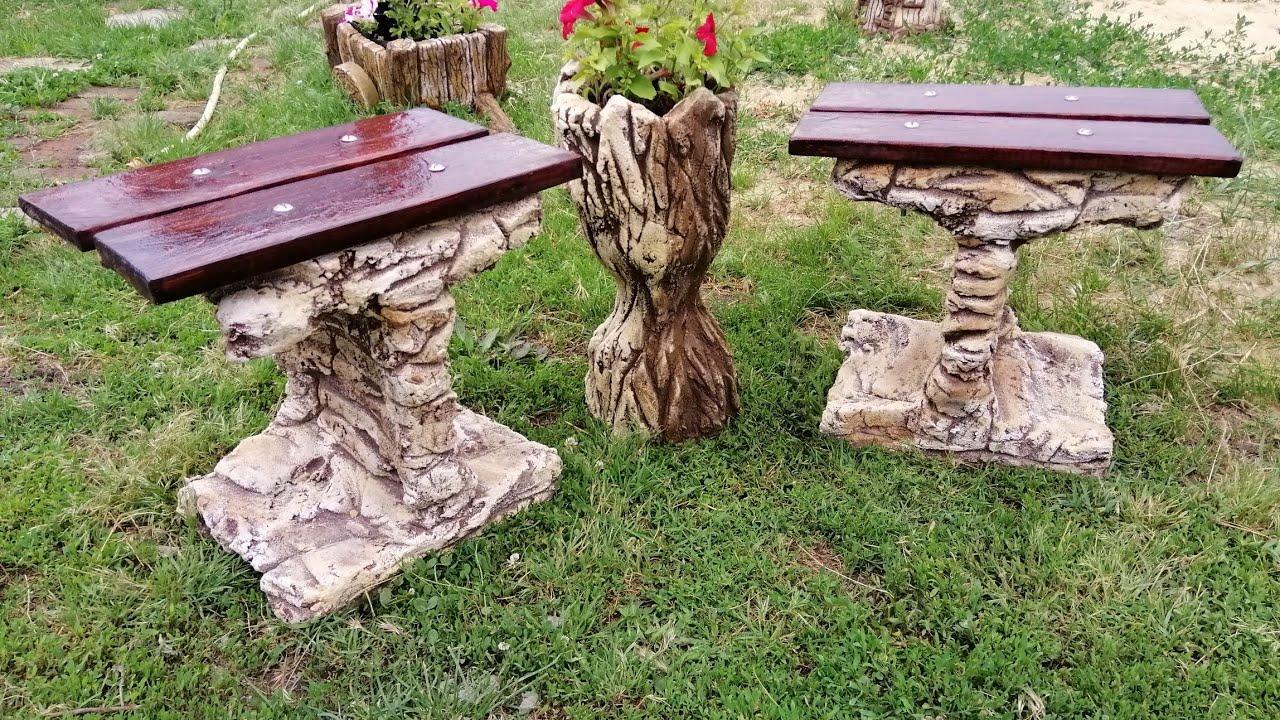 Садовая мебель из пластиковых ящиков и цемента своими руками.