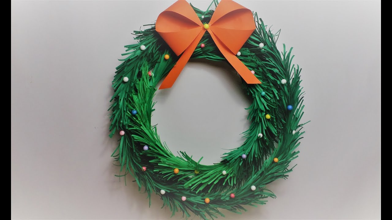 Paper Christmas Wreath Designs.How To Make Paper Christmas Wreath At Home Diy Wreath Making At Home