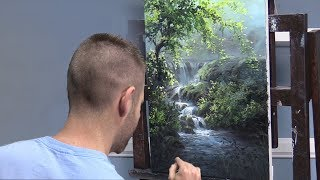 Sunlit Waterfall | Paint with Kevin ®